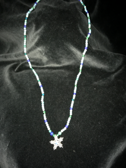 4 + 6mm necklace with interlace 5-point star