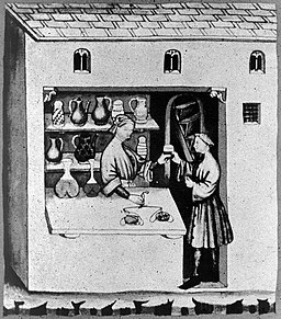 A_pharmacist_dispensing_syropus_acetosus_in_his_shop._Wellcome_L0005335