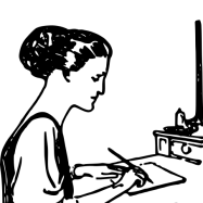 Woman hand-writing at desk
