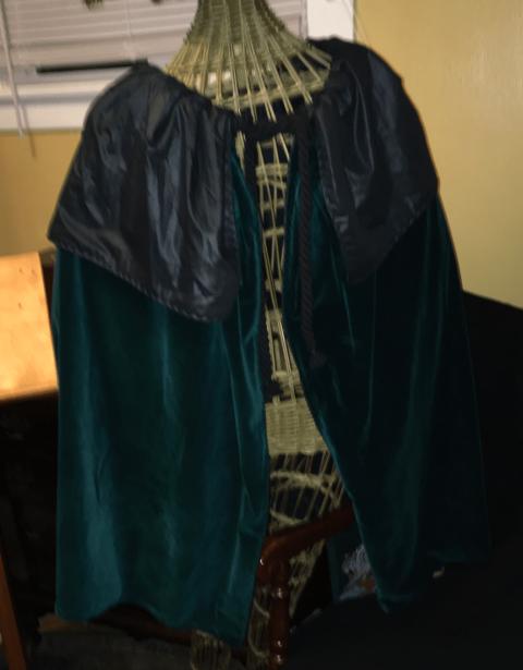 Gloriana Gallantry photo of dark green velveteen lined in black.